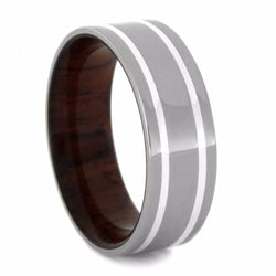Honduran Rosewood Sleeve, Sterling Silver Pinstripe 7mm Comfort-Fit Titanium Wedding Band