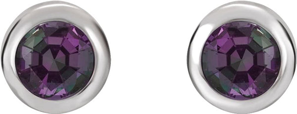 Chatham Created Alexandrite Stud Earrings, Rhodium-Plated 14k White Gold