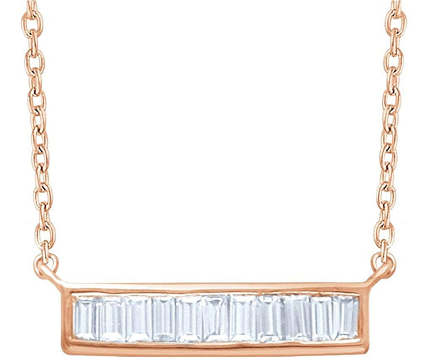 "Diamond Baguette Bar Necklace in 14k Rose Gold, 16-18"" (1/4 Cttw)"