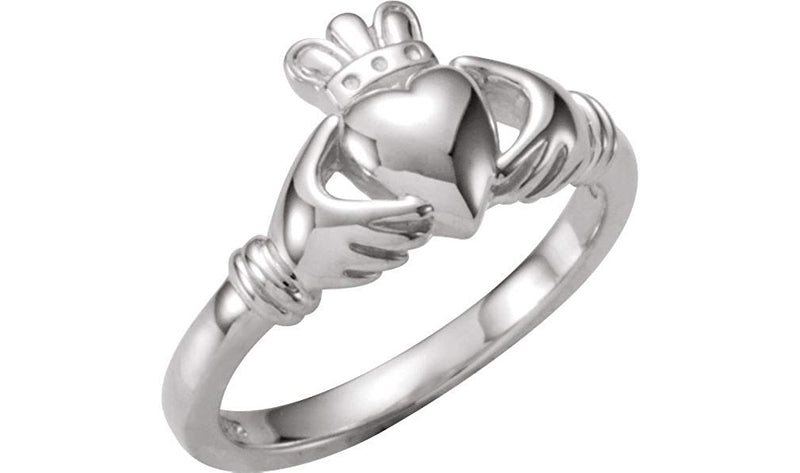 14k White Gold Youth Teen Claddagh Celtic Ring, Size 5