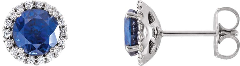 Chatham Created Blue Sapphire and Diamond Earrings, 14k White Gold (.125 Ctw, G-H Color, I1 Clarity)