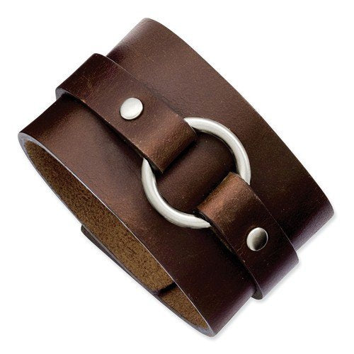 Men's Stainless Steel 45mm Brown Leather Adjustable Bracelet, 8.75""