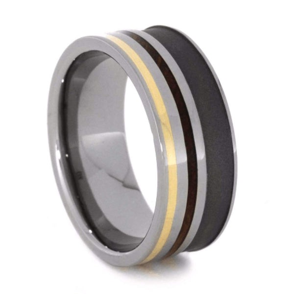 The Men's Jewelry Store (Unisex Jewelry) Whiskey Barrel Wood, 14k Yellow Gold 8mm Sandblasted Titanium Comfort-Fit Band