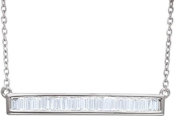 "Diamond Baguette Bar Necklace in Rhodium Plated 14k White Gold, 16-18"" (1/2 Cttw)"