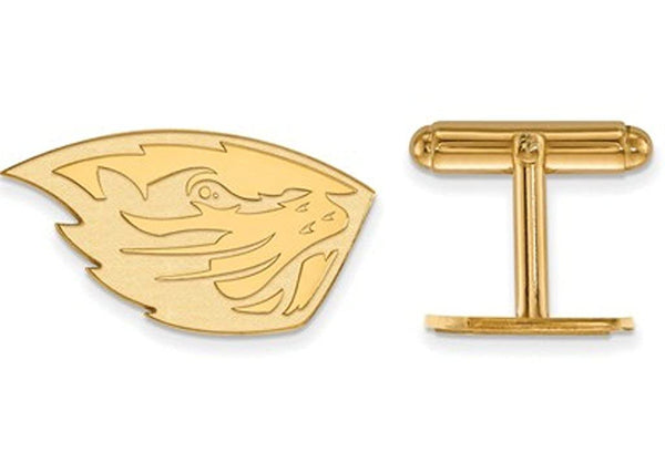 14k Yellow Gold Oregon State University Round Cuff Links, 16MM