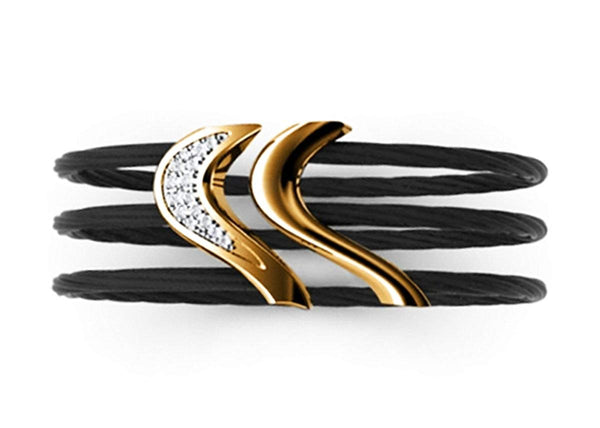 Tango Collection Black Titanium and Bronze 27mm White Sapphire Cable Flex Cuff Bangle Bracelet, 6""