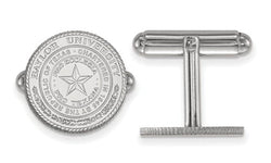 Rhodium-Plated Sterling Silver Baylor University Crest Bullet Back Round Cuff links, 15MM