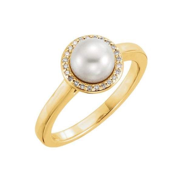 White Freshwater Cultured Pearl and Diamond Halo Ring, 14k Yellow Gold (6.5-7mm) (.06Ctw, G-H Color, I1 Clarity)