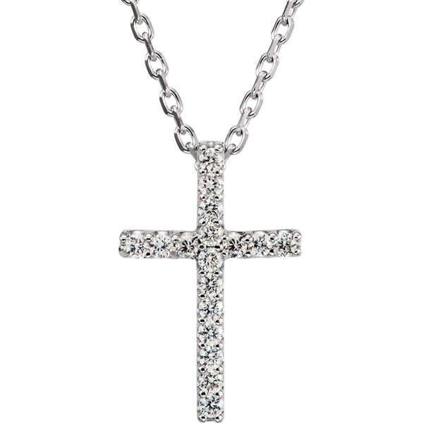 "Petite Diamond Christian Cross Rhodium-Plated 14k White Gold Necklace, 16"" (.085 Ctw, GH Color, SI1 Clarity)"