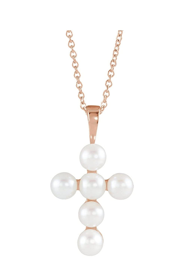 "White Freshwater Cultured Pearl Cross 14k Rose Gold Pendant Necklace, 16"" and 18"" (22.98X12.39 MM) (4-4.5MM)"