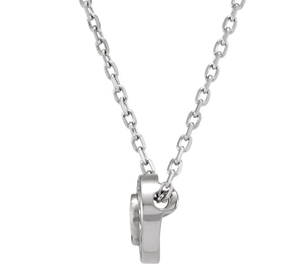 "Platinum Diamond Solitaire Inifinity Trim Pendant Necklace, 18"" (.16 Cttw)"