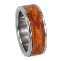 Gold Box Elder Burl Wood Inlay 6mm Comfort Fit Interchangeable Titanium Band, Size 10