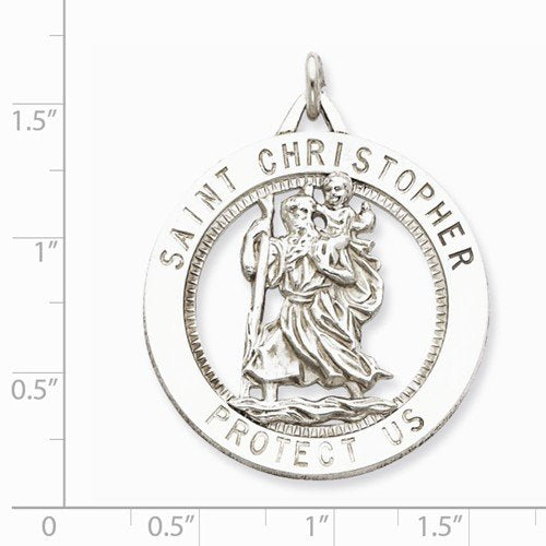 Sterling Silver Saint Christopher Medal Pendant (40X33MM)