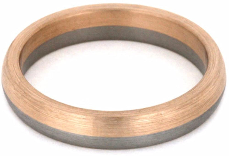 14k Rose Gold and Brushed Titanium 4mm Comfort-Fit Band