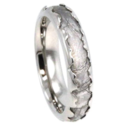 Custom Wavy Design, Gibeon Meteorite Inlay 5mm Comfort Fit Titanium Cool Ring, Size 10.25