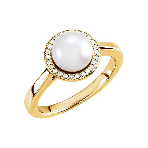 White Freshwater Cultured Pearl and Diamond Halo Ring, 14k Yellow Gold (7.5-8mm) (.08Ctw, G-H Color, I1 Clarity)