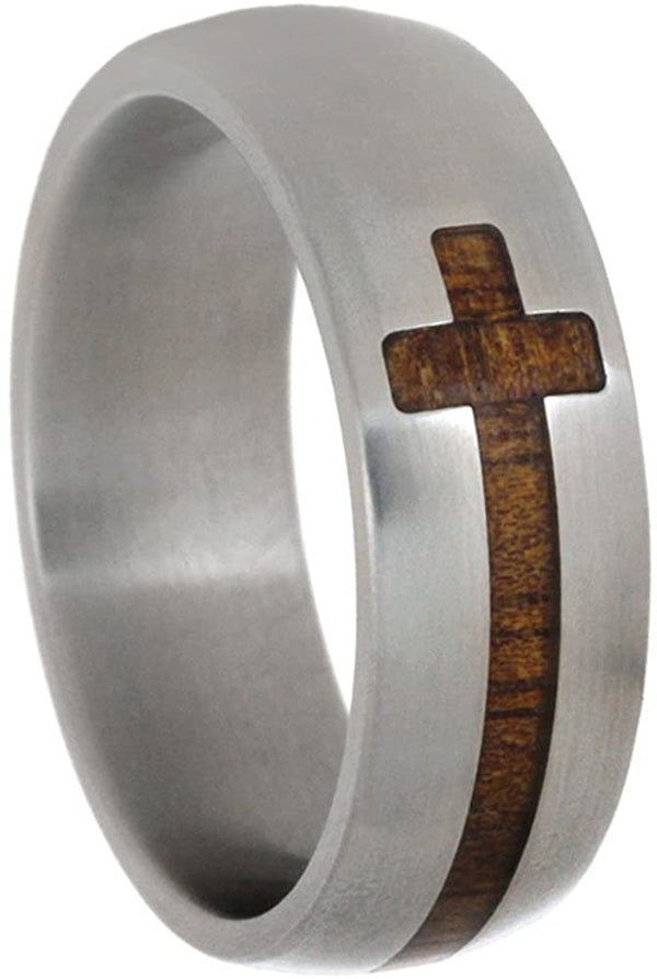 Cross Koa Wood Inlay 8mm Comfort-Fit Matte Titanium Wedding Band, Size 12.5