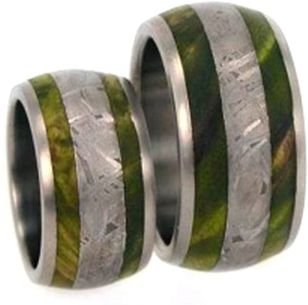 Gibeon Meteorite, Green Box Elder Burl Wood Comfort-Fit Titanium His and Hers Wedding Ring Set, M14.5-F5