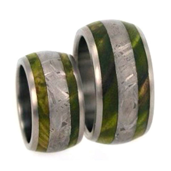 Gibeon Meteorite, Green Box Elder Burl Wood Comfort-Fit Titanium His and Hers Wedding Ring Set, M10-F4
