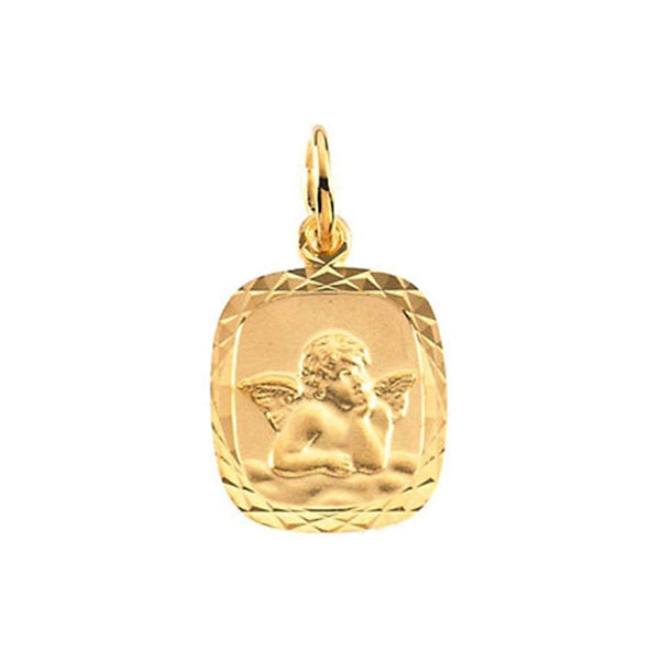 14k Yellow Gold Angel Medal with Diamond-Cut Frame (12x11 MM)