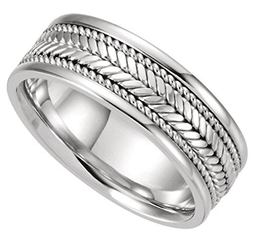 Hand Woven 8mm Comfort Fit 14k White Gold Band