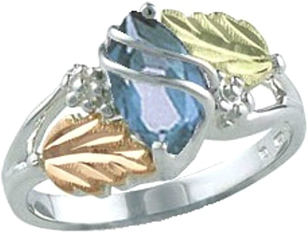 Marquise Created Aquamarine March Birthstone Ring, Sterling Silver, 12k Green and Rose Gold Black Hills Gold Motif, Size 10.25