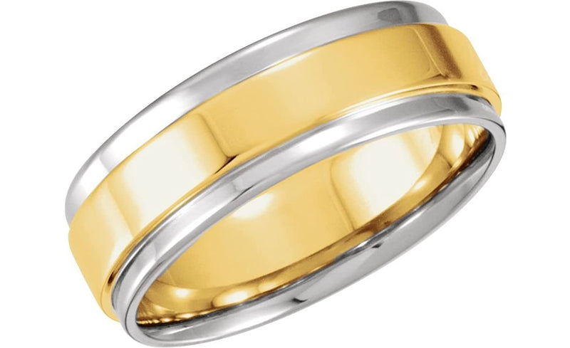 14k White and Yellow Gold 7.5mm Comfort Fit Flat Band