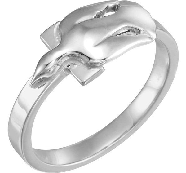 Dove with Cross Rhodium Plate 14k White Gold Ring, Size 8.75