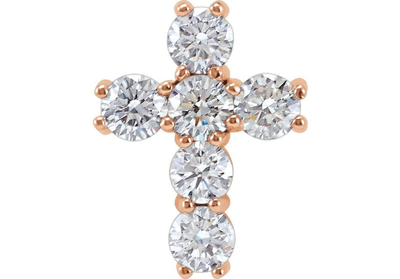 Diamond Cross Pendant, Rhodium-Plated 14k Rose Gold (1/4 Ctw, Color G-H, Clarity I1 )