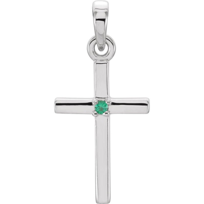 Emerald Inset Cross Rhodium-Plated 14k White Gold Pendant (19.2x9MM)