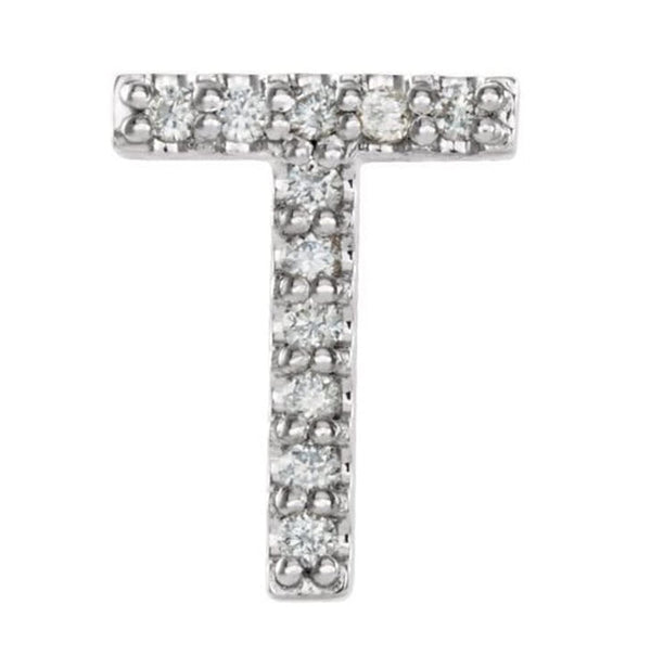 Sterling Silver Diamond Letter 'T' Initial Stud Earring (Single Earring) (.05 Ctw, GH Color, I1 Clarity)