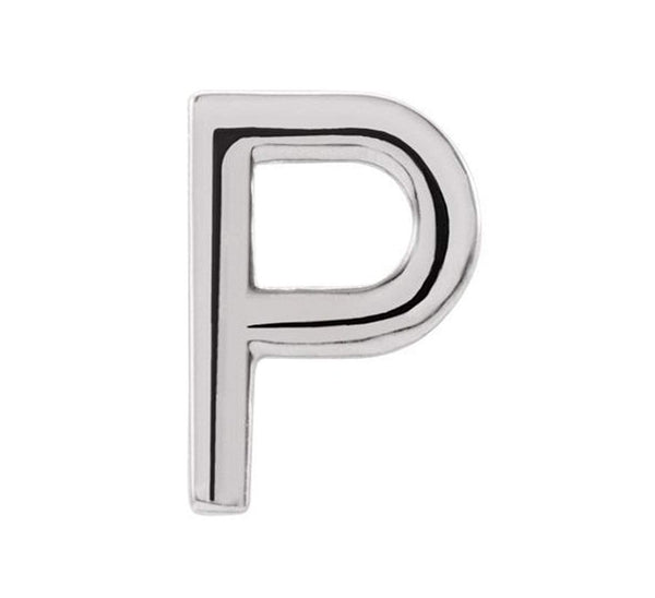 Platinum Initial Letter 'P' Stud Earring (Single Earring)