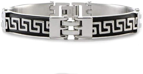 Men's Stainless Steel 11mm Black Rubber with Greek Key Design Link Bracelet, 8 Inches