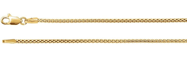 1.5mm 14k Yellow Gold Hollow Popcorn Chain, 16""