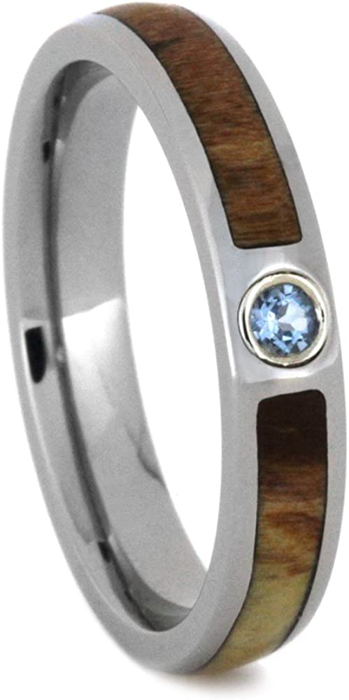 Aquamarine, Petrified Wood 4mm Comfort-Fit Titanium Wedding Band, Size 4.25