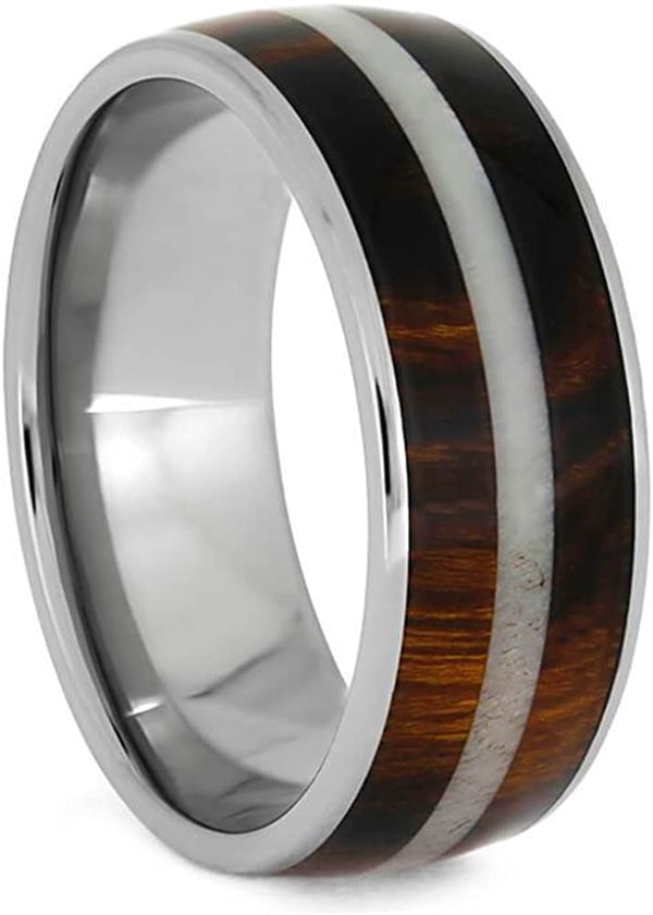 The Men's Jewelry Store (Unisex Jewelry) Honduran Rosewood, Bright Deer Antler 8mm Comfort-Fit Titanium Band, Size 11.5