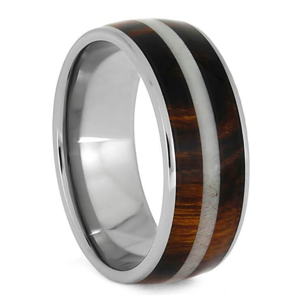 The Men's Jewelry Store (Unisex Jewelry) Honduran Rosewood, Bright Deer Antler 8mm Comfort-Fit Titanium Band