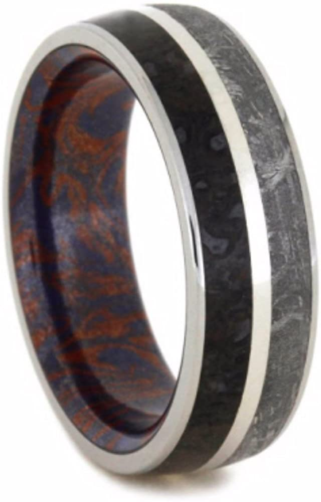 Gibeon Meteorite, Dinosaur Bone, Blue Bronze and Red Copper Mokume 7mm Comfort-Fit Titanium Wedding Band, Size 7.75
