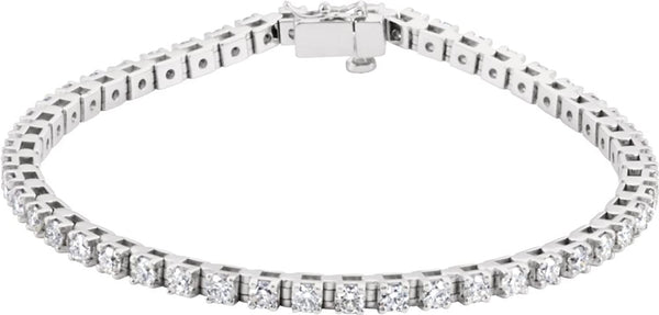 "49-Stone Diamond Tennis Rhodium-Plated 14k White Gold Bracelet, 7.25"" (3.37 Cttw, GH Color , I1 Clarity )"