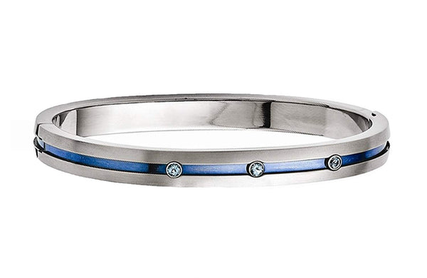 Radiance Collection Grey and Blue Titanium Blue Topaz Hinged Bangle Bracelet. 7.5""