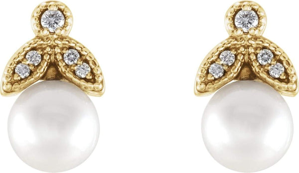 White Freshwater Cultured Pearl and Diamond Earrings, 14k Yellow Gold (6-6.5MM) (.07 Ctw, GH Color, I1 Clarity)