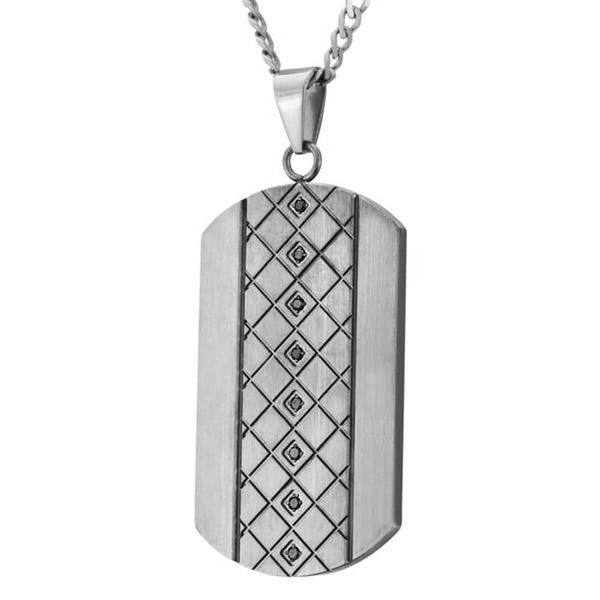 "Men's Black Diamond Satin Finish Dog Tag Pendant Necklace, Stainless Steel, 24"" (.125 Ctw)"