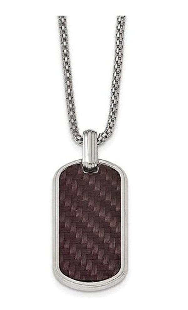 Edward Mirell Stainless Steel Marsala Carbon Fiber Dog Tag Necklace, 20""