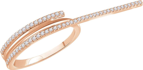 Diamond Two-Finger Ring, 14k Rose Gold, Size 7 (0.25 Ctw, H+ Color, I1 Clarity)