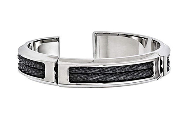 Men's Cable Boulevard Collection Gray Titanium and Stainless Steel 14mm Cable Flexible Cuff Bangle Bracelet,