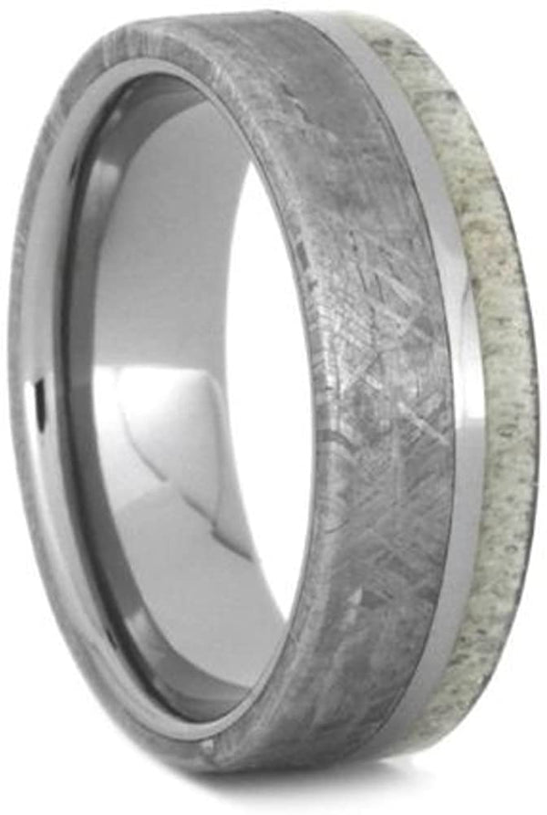 Gibeon Meteorite, Deer Antler 7mm Titanium Comfort-Fit Wedding Ring