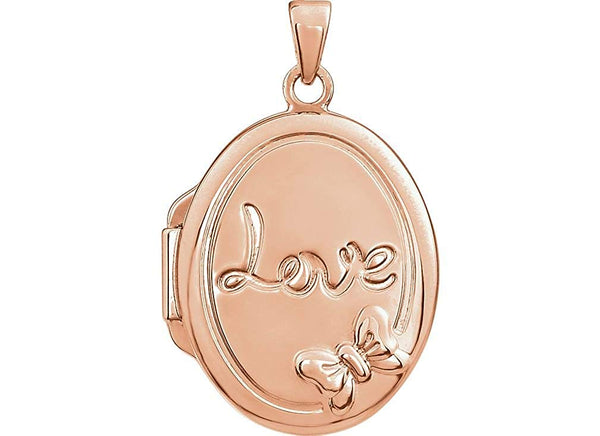 14k Rose Gold-Plated Sterling Silver 'Love' Locket Pendant