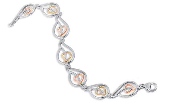 Blooming Hearts Bracelet, Rhodium Plated Sterling Silver, 1Ok Yellow and Rose Gold, 7.25""