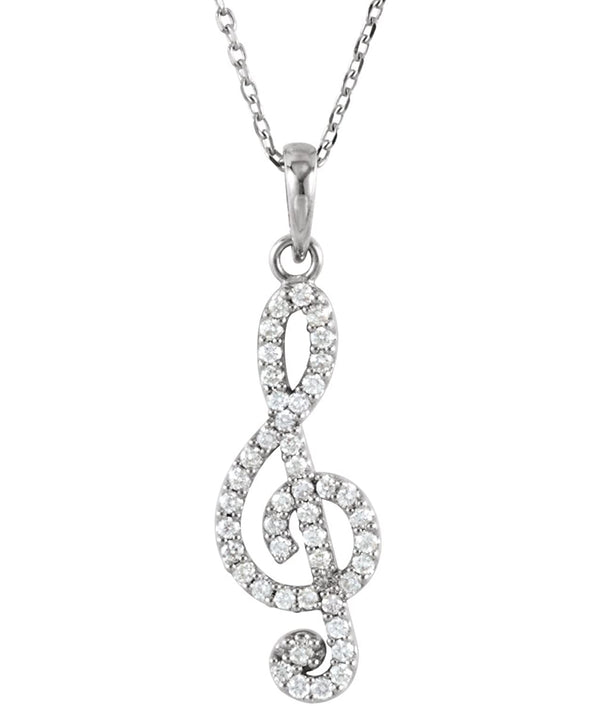 "Petite Diamond Treble Clef Rhodium Plate 14k White Gold Pendant Necklace, 16"" (.25 Cttw)"
