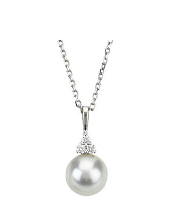 "The Men's Jewelry Store (for HER) White Freshwater Cultured Pearl and Diamond Pendant Necklace, 14k White Gold, 18"" (7.5-8MM)(.06 Ctw, Color G-H, Clarity I1)"